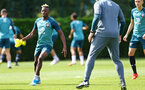 SOUTHAMPTON, ENGLAND - AUGUST 15: Moussa Djenepo (left) during a Southampton FC Training session pictured on August 15, 2019 in Southampton, England. (Photo by James Bridle - Southampton FC/Southampton FC via Getty Images)