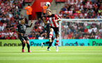 SOUTHAMPTON, ENGLAND - AUGUST 17: Jannik Vestergaard of Southampton wins a header during the Premier League match between Southampton FC and Liverpool FC at St Mary's Stadium on August 17, 2019 in Southampton, United Kingdom. (Photo by Matt Watson/Southampton FC via Getty Images)