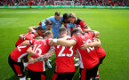 SOUTHAMPTON, ENGLAND - AUGUST 17: Saints players huddle during the Premier League match between Southampton FC and Liverpool FC at St Mary's Stadium on August 17, 2019 in Southampton, United Kingdom. (Photo by Matt Watson/Southampton FC via Getty Images)