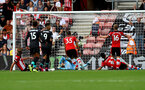 SOUTHAMPTON, ENGLAND - AUGUST 17: Roberto Firminho of Liverpool scores during the Premier League match between Southampton FC and Liverpool FC at St Mary's Stadium on August 17, 2019 in Southampton, United Kingdom. (Photo by Matt Watson/Southampton FC via Getty Images)