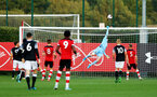 SOUTHAMPTON, ENGLAND - AUGUST 19: Jack Bycroft tips the ball over the bar during the match between Southampton FC and Derby County FC pictured at Staplewood Training Ground on August 19, 2019 in Southampton, England. (Photo by James Bridle - Southampton FC/Southampton FC via Getty Images)
