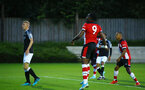 SOUTHAMPTON, ENGLAND - AUGUST 19: Dan Nlundulu  with a header that goes over the bar during the match between Southampton FC and Derby County FC pictured at Staplewood Training Ground on August 19, 2019 in Southampton, England. (Photo by James Bridle - Southampton FC/Southampton FC via Getty Images)