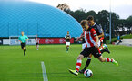 SOUTHAMPTON, ENGLAND - AUGUST 19: Jake Vokins  makes a cross into the box during the match between Southampton FC and Derby County FC pictured at Staplewood Training Ground on August 19, 2019 in Southampton, England. (Photo by James Bridle - Southampton FC/Southampton FC via Getty Images)
