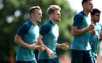SOUTHAMPTON, ENGLAND - AUGUST 20: James Ward-Prowse(L) and Stuart Armstrong during a Southampton FC training session at the Staplewood Campus on August 20, 2019 in Southampton, England. (Photo by Matt Watson/Southampton FC via Getty Images)