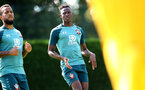 SOUTHAMPTON, ENGLAND - AUGUST 22: Ryan Bertrand(L) and Moussa Djenepo during a Southampton FC training session at the Staplewood Campus on August 22, 2019 in Southampton, England. (Photo by Matt Watson/Southampton FC via Getty Images)