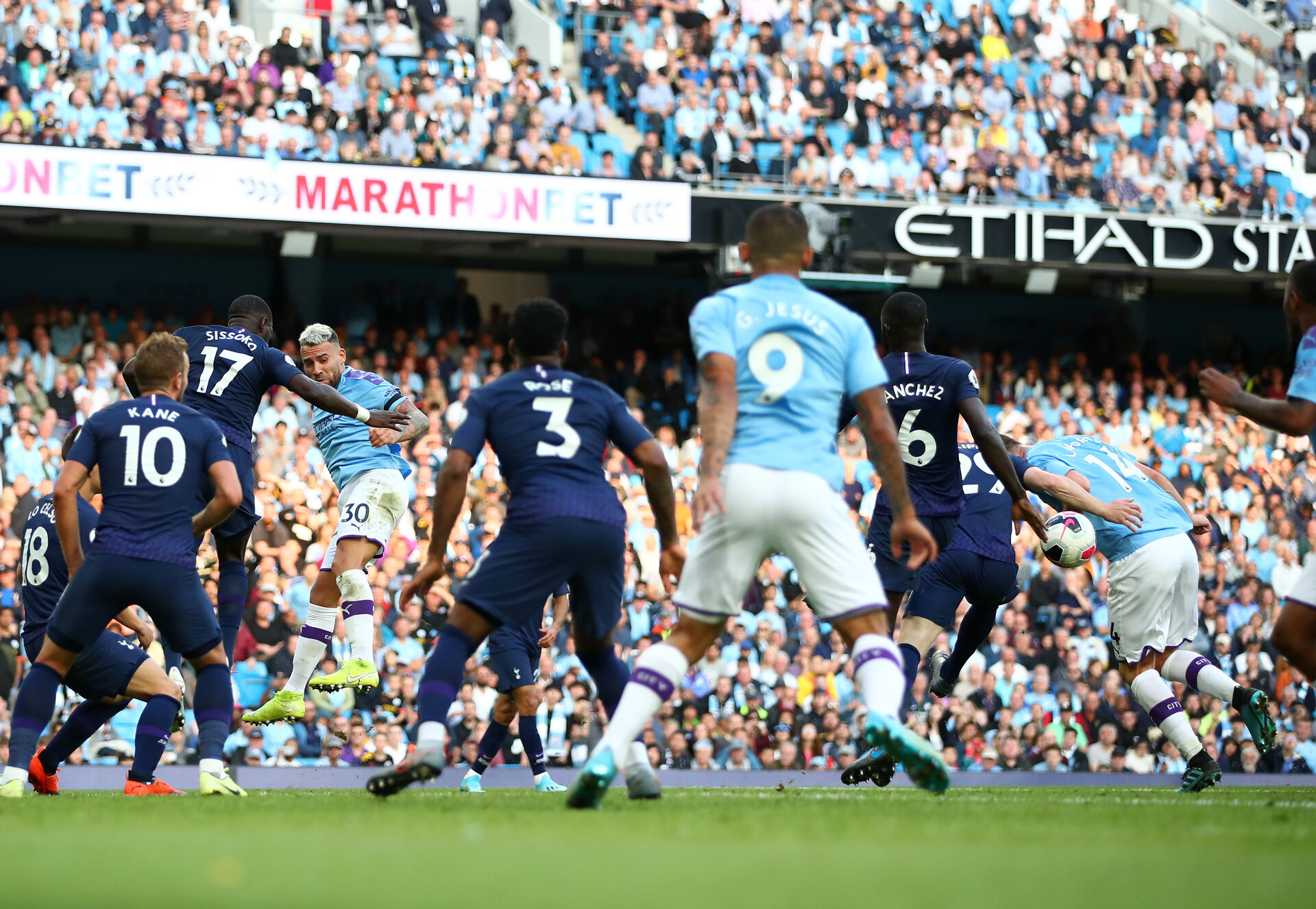 MANCHESTER, ENGLAND - AUGUST 17: Nicolas Otamendi (30) of Manchester City heads a ball on to the arm of team mate Aymeric Laporte (14) leading to Gabriel Jesus of Manchester City scoring his sides third goal which is later disallowed by VAR due to ball to arm during the Premier League match between Manchester City and Tottenham Hotspur at Etihad Stadium on August 17, 2019 in Manchester, United Kingdom. (Photo by Clive Brunskill/Getty Images)