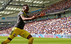 BRIGHTON, ENGLAND - AUGUST 24: Moussa Djenepo of Southampton celebrates after opening the scoring during the Premier League match between Brighton & Hove Albion and Southampton FC at American Express Community Stadium on August 24, 2019 in Brighton, United Kingdom. (Photo by Matt Watson/Southampton FC via Getty Images)