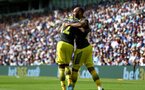 BRIGHTON, ENGLAND - AUGUST 24: Moussa Djenepo(L) and Nathan Redmond of Southampton during the Premier League match between Brighton & Hove Albion and Southampton FC at American Express Community Stadium on August 24, 2019 in Brighton, United Kingdom. (Photo by Matt Watson/Southampton FC via Getty Images)