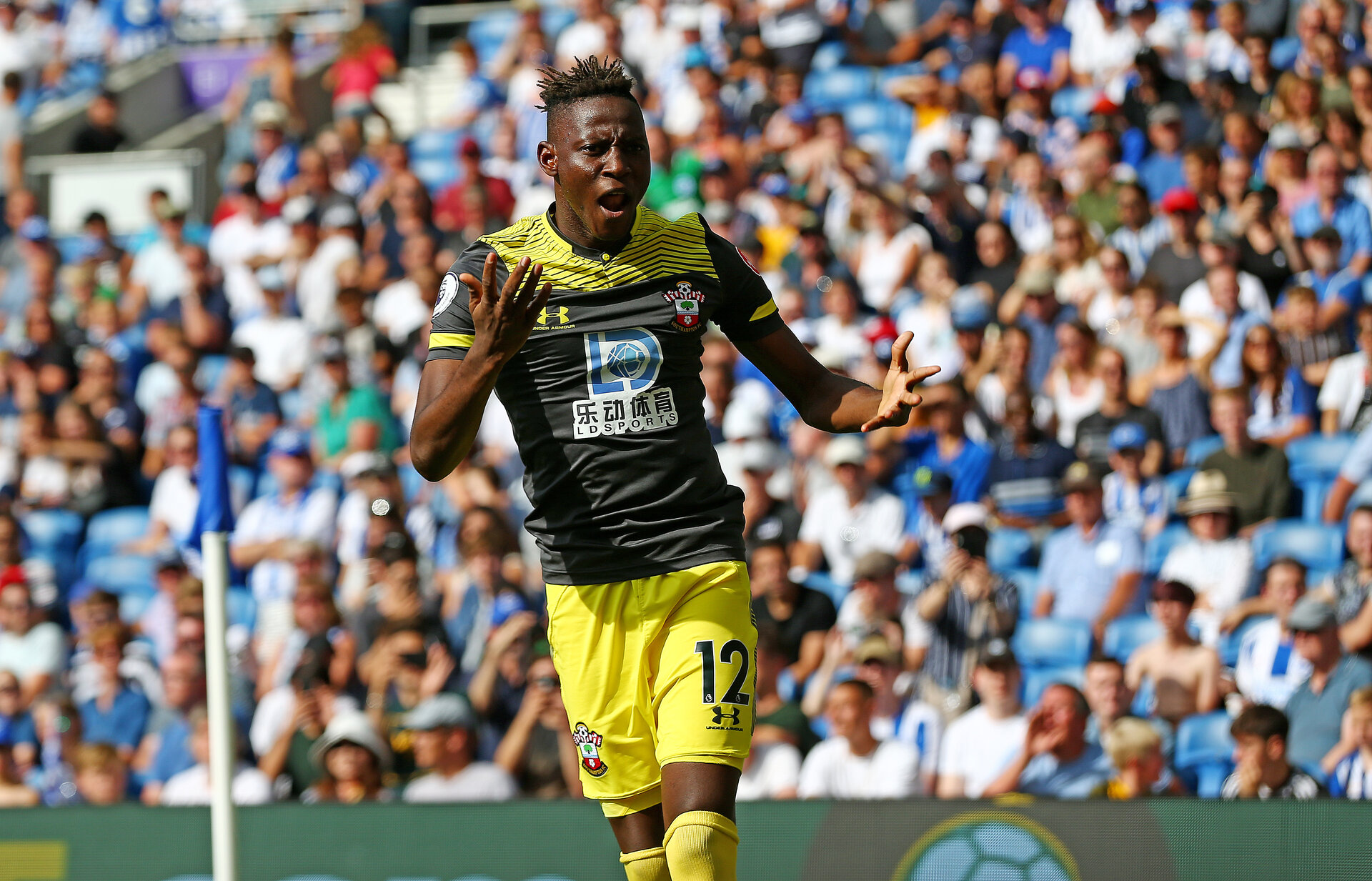 BRIGHTON, ENGLAND - AUGUST 24: Moussa Djenepo of Southampton celebrates his goal during the Premier League match between Brighton & Hove Albion and Southampton FC at American Express Community Stadium on August 24, 2019 in Brighton, United Kingdom. (Photo by Matt Watson/Southampton FC via Getty Images)