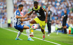 BRIGHTON, ENGLAND - AUGUST 24: Kevin Danso(R) of Southampton and Martin Montoya(L) of Brighton during the Premier League match between Brighton & Hove Albion and Southampton FC at American Express Community Stadium on August 24, 2019 in Brighton, United Kingdom. (Photo by Matt Watson/Southampton FC via Getty Images)
