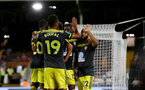 LONDON, ENGLAND - AUGUST 27: Players of Southampton celebrate during the Carabao Cup second round match between Fulham and Southampton FC at Craven Cottage on August 27, 2019 in London, England. (Photo by Matt Watson/Southampton FC via Getty Images)