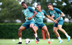 SOUTHAMPTON, ENGLAND - AUGUST 29: L to R Kevin Danso, Yan Valery and Danny Ings during a Southampton FC training session at the Staplewood Campus on August 29, 2019 in Southampton, England. (Photo by Matt Watson/Southampton FC via Getty Images)
