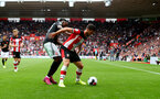 SOUTHAMPTON, ENGLAND - AUGUST 31: Shane Long(R) of Southampton during the Premier League match between Southampton FC and Manchester United at St Mary's Stadium on August 31, 2019 in Southampton, United Kingdom. (Photo by Matt Watson/Southampton FC via Getty Images)