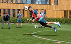 SOUTHAMPTON, ENGLAND - SEPTEMBER 05: Danny Ings diving header  during a Southampton FC training session at the Staplewood Campus on September 05, 2019 in Southampton, England. (Photo by Matt Watson/Southampton FC via Getty Images)