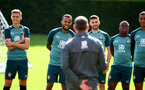 SOUTHAMPTON, ENGLAND - SEPTEMBER 05: L to R Will Smallbone, Ryan Bertrand, Shane Long, Michael Obafemi and Yan Valery during a Southampton FC training session at the Staplewood Campus on September 05, 2019 in Southampton, England. (Photo by Matt Watson/Southampton FC via Getty Images)