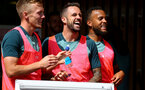 SOUTHAMPTON, ENGLAND - SEPTEMBER 05: L to R James Ward-Prowse, Danny Ings and Ryan Bertrand during a Southampton FC training session at the Staplewood Campus on September 05, 2019 in Southampton, England. (Photo by Matt Watson/Southampton FC via Getty Images)