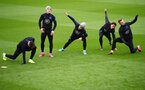 SOUTHAMPTON, ENGLAND - SEPTEMBER 09: England players take part during an England training session at St. Mary's Stadium on September 09, 2019 in Southampton, England. (Photo by Julian Finney/Getty Images)