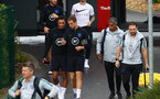 SOUTHAMPTON, ENGLAND - SEPTEMBER 09: Trent Alexander-Arnold and Jordan Henderson of England arrive ahead of an England training session at St. Mary's Stadium on September 09, 2019 in Southampton, England. (Photo by Julian Finney/Getty Images)
