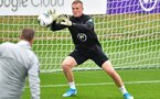 England's goalkeeper Jordan Pickford makes a save during an England team training session at Staplewood Campus in southampton, southern England on September 9, 2019, ahead of their Euro 2020 football qualification match against Kosovo. (Photo by Glyn KIRK / AFP) / NOT FOR MARKETING OR ADVERTISING USE / RESTRICTED TO EDITORIAL USE        (Photo credit should read GLYN KIRK/AFP/Getty Images)