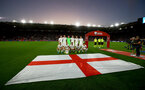 SOUTHAMPTON, ENGLAND - SEPTEMBER 10: England players during the national anthem during the UEFA Euro 2020 qualifier match between England and Kosovo at St. Mary's Stadium on September 10, 2019 in Southampton, England. (Photo by Matt Watson/Southampton FC via Getty Images)