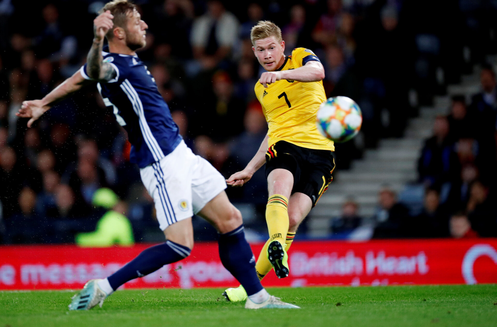 Soccer Football - Euro 2020 Qualifier - Group I - Scotland v Belgium - Hampden Park, Glasgow, Britain - September 9, 2019  Belgium's Kevin De Bruyne scores their fourth goal   REUTERS/Russell Cheyne