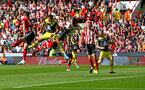 SHEFFIELD, ENGLAND - SEPTEMBER 14: Ché Adams of Southampton heads at goal during the Premier League match between Sheffield United and Southampton FC at Bramall Lane on September 14, 2019 in Sheffield, United Kingdom. (Photo by Matt Watson/Southampton FC via Getty Images)