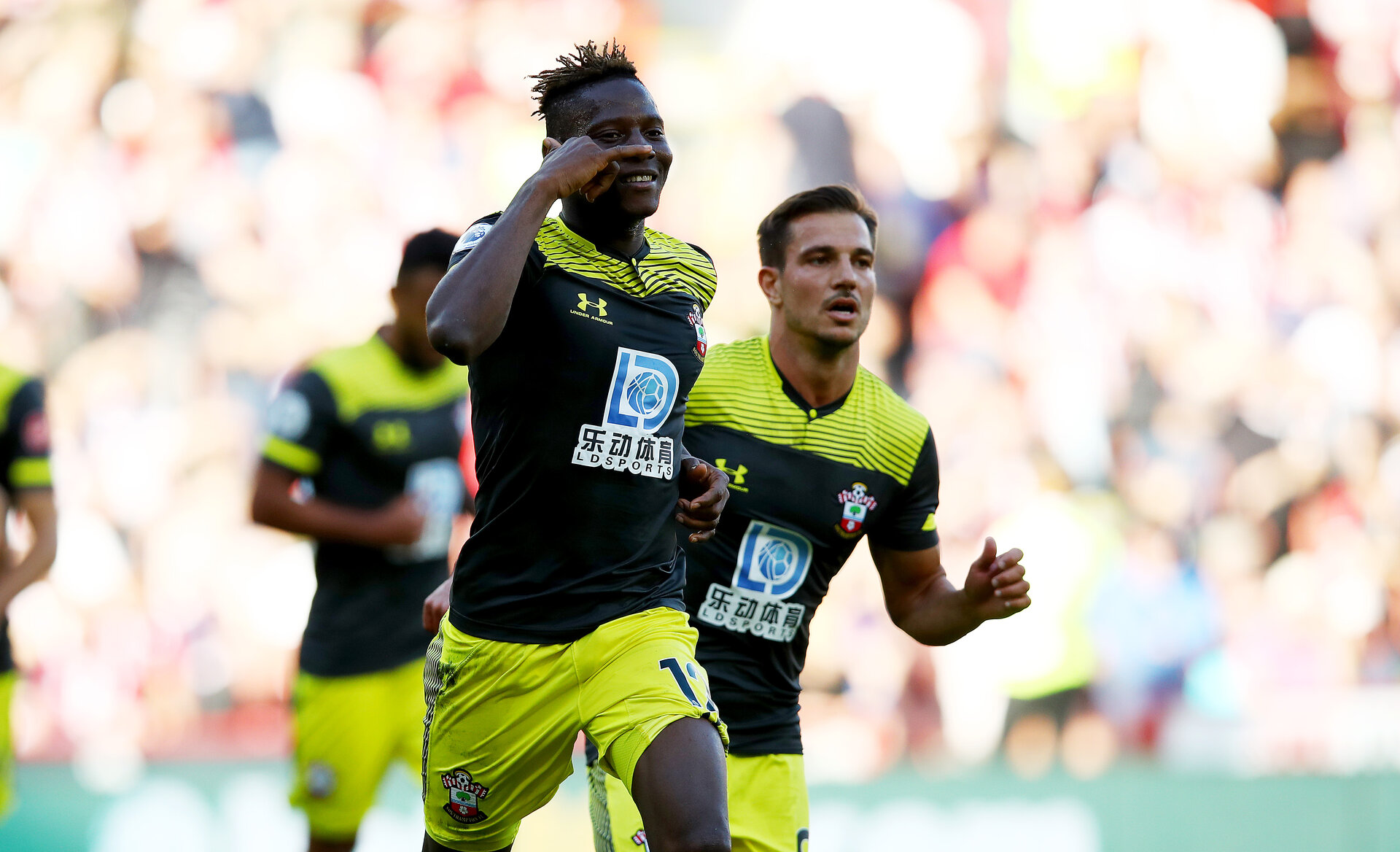 SHEFFIELD, ENGLAND - SEPTEMBER 14: Moussa Djenepo of Southampton celebrates after opening the scoring during the Premier League match between Sheffield United and Southampton FC at Bramall Lane on September 14, 2019 in Sheffield, United Kingdom. (Photo by Matt Watson/Southampton FC via Getty Images)