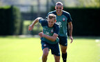SOUTHAMPTON, ENGLAND - SEPTEMBER 19: James Ward-Prowse(L) and Oriol Romeu during a Southampton FC training session at the Staplewood Campus on September 19, 2019 in Southampton, England. (Photo by Matt Watson/Southampton FC via Getty Images)