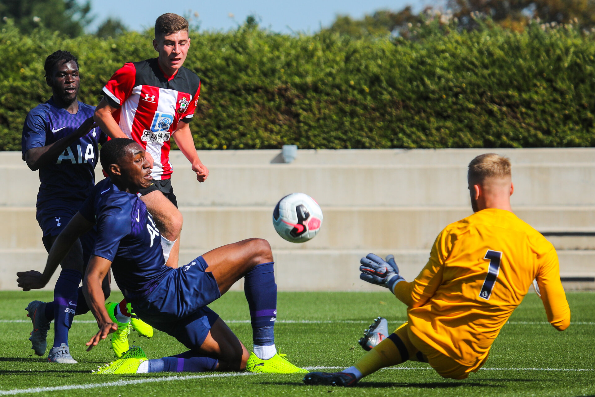 SOUTHAMPTON, ENGLAND - SEPTEMBER 21: Southampton FC number 3 has a shot during the Under 18s match between Southampton FC and Tottenham Hotspur at the Staplewood Campus on September 21, 2019 in Southampton, England