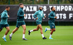 SOUTHAMPTON, ENGLAND - SEPTEMBER 22: L to R Danny Ings, Jack Stephens, Nathan Redmond and Ryan Bertrand during a training session at the Staplewood Campus on September 22, 2019 in Southampton, England. (Photo by Matt Watson/Southampton FC via Getty Images)