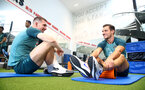 SOUTHAMPTON, ENGLAND - SEPTEMBER 25: Pierre-Emile Hojbjerg(L) and Cedric Soares during a Southampton FC training/recovery session at Staplewood Complex on September 25, 2019 in Southampton, England. (Photo by Matt Watson/Southampton FC via Getty Images)