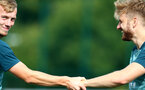 SOUTHAMPTON, ENGLAND - SEPTEMBER 26: James Ward-Prowse(L) and Stuart Armstrong during a Southampton FC training session at the Staplewood Campus on September 26, 2019 in Southampton, England. (Photo by Matt Watson/Southampton FC via Getty Images)