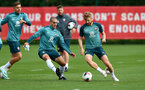 SOUTHAMPTON, ENGLAND - SEPTEMBER 26: Oriol Romeu(L) and Stuart Armstrong during a Southampton FC training session at the Staplewood Campus on September 26, 2019 in Southampton, England. (Photo by Matt Watson/Southampton FC via Getty Images)