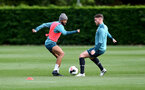 SOUTHAMPTON, ENGLAND - OCTOBER 03: Nathan Redmond(L) and Callum Slattery during a Southampton FC training session at the Staplewood Campus on October 03, 2019 in Southampton, England. (Photo by Matt Watson/Southampton FC via Getty Images)