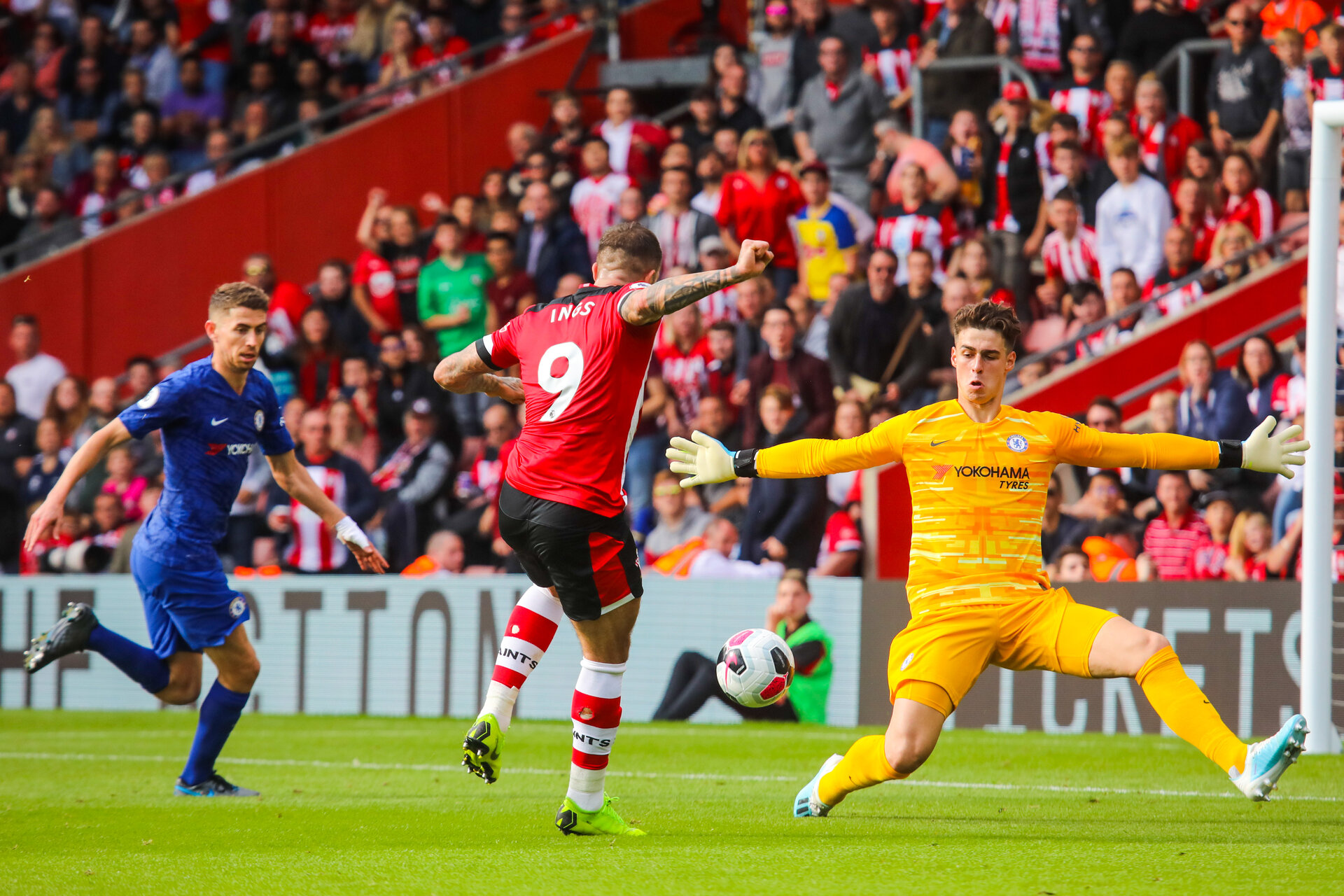 SOUTHAMPTON, ENGLAND - OCTOBER 6: Danny Ings of Southampton FC has a shot during the Premier League match between Southampton FC and Chelsea FC at St Mary's Stadium on October 6, 2019 in Southampton, England