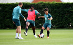 SOUTHAMPTON, ENGLAND - OCTOBER 09: Dan N'Lundulu(centre) snd Sean Brennan during a Southampton FC training session at the Staplewood Campus on October 09, 2019 in Southampton, England. (Photo by Matt Watson/Southampton FC via Getty Images)
