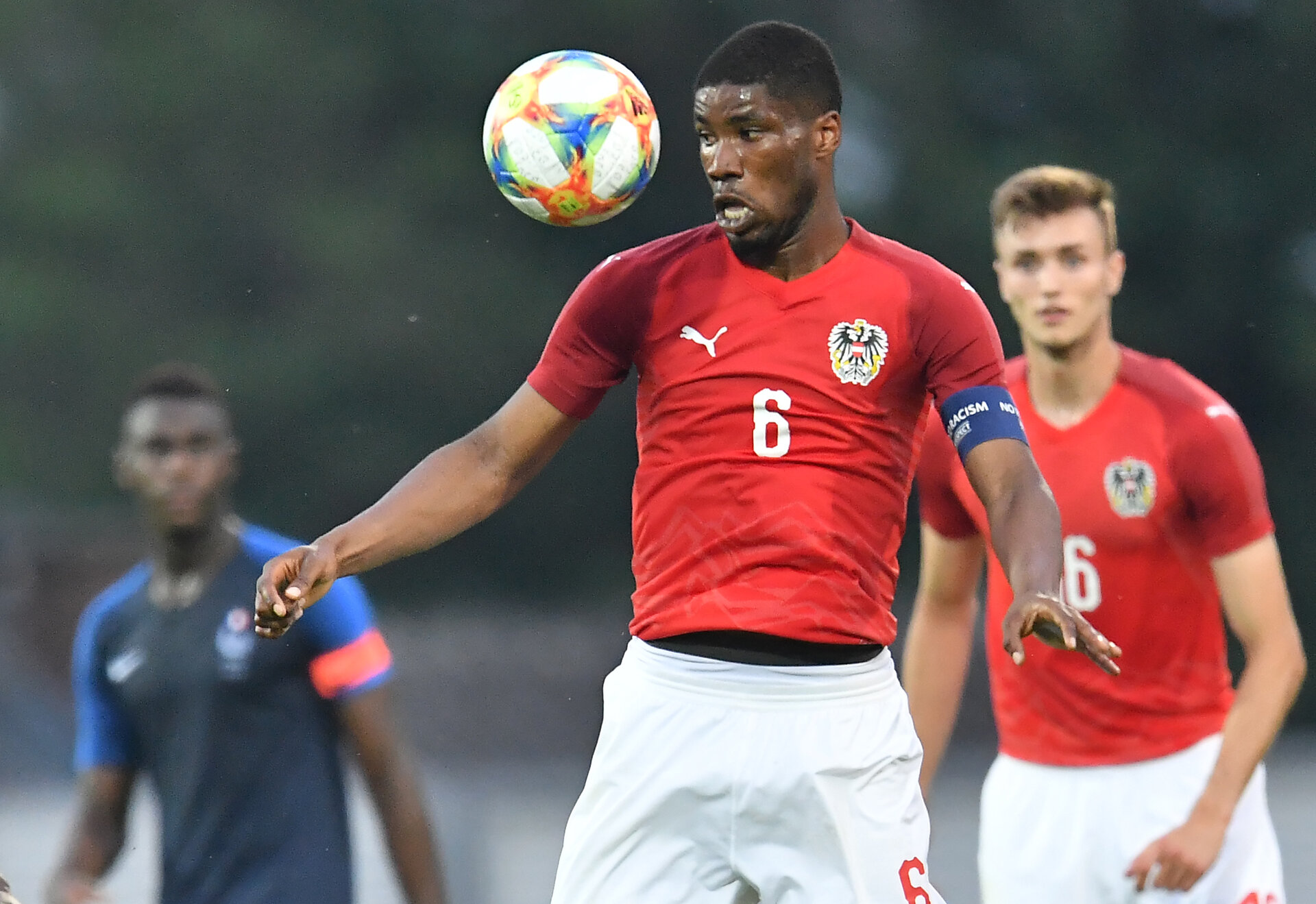 Austria's midfielder Kevin Danso eyes a ball during the U21 friendly football match between Austria and France in Hartberg, Austria, on June 11, 2019. (Photo by JOE KLAMAR / AFP)        (Photo credit should read JOE KLAMAR/AFP/Getty Images)