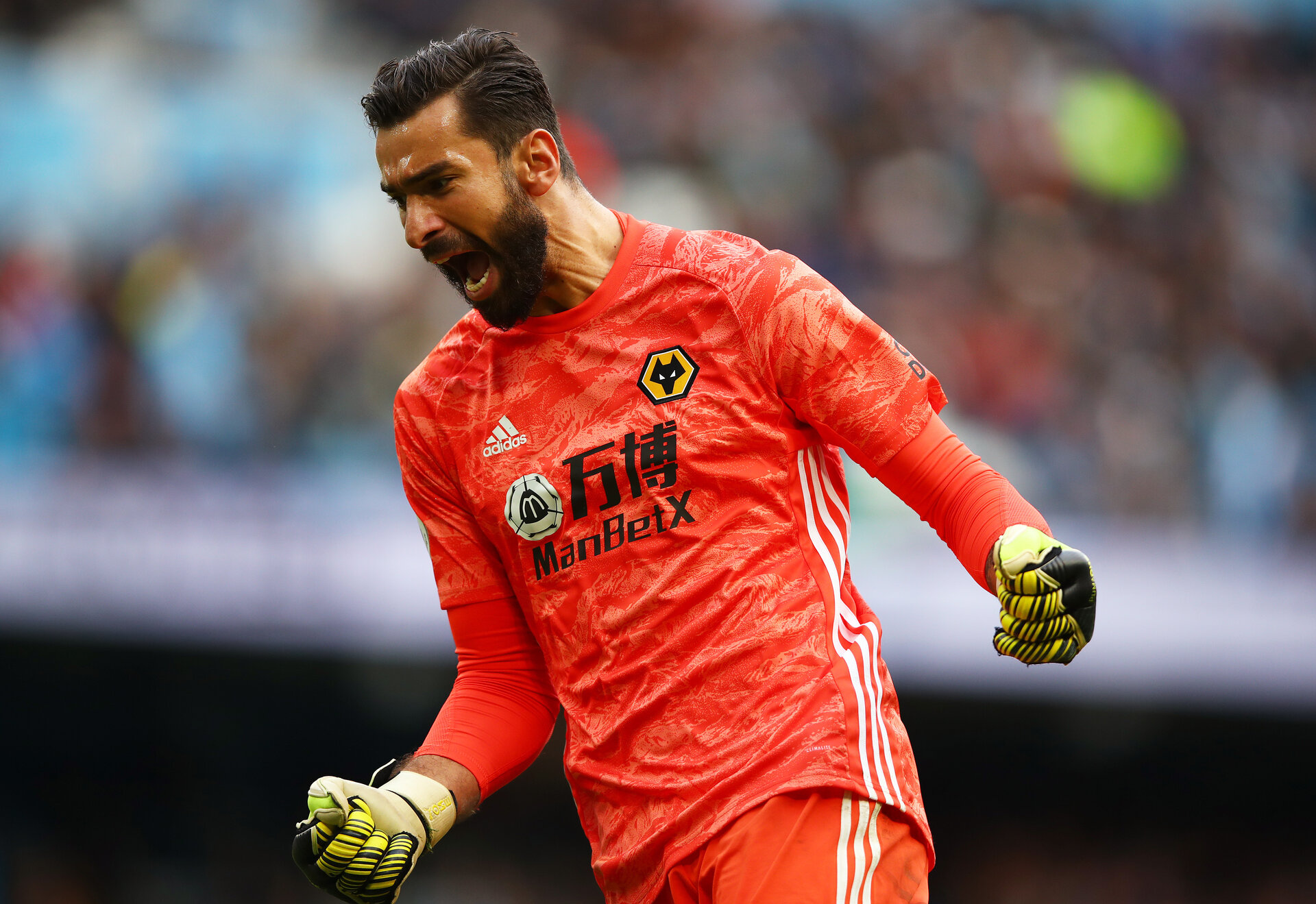 MANCHESTER, ENGLAND - OCTOBER 06: Rui Patricio of Wolverhampton Wanderers celebrates after their teams victory in the Premier League match between Manchester City and Wolverhampton Wanderers at Etihad Stadium on October 06, 2019 in Manchester, United Kingdom. (Photo by Clive Brunskill/Getty Images)