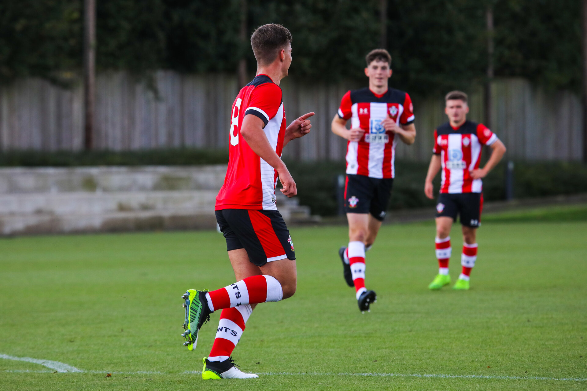 SOUTHAMPTON, ENGLAND - OCTOBER 19: Jack Turner of Southampton FC celebrates scoring Southampton's second goal during the Barclays Under 18 Premier League match between Southampton FC and Leicester City at the Staplewood Campus on October 19, 2019 in Southampton, England