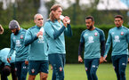 SOUTHAMPTON, ENGLAND - OCTOBER 23: Jannik Vestergaard drinks from a Wow Hydrate bottle during a Southampton FC training session at the Staplewood Campus on October 23, 2019 in Southampton, England. (Photo by Matt Watson/Southampton FC via Getty Images)