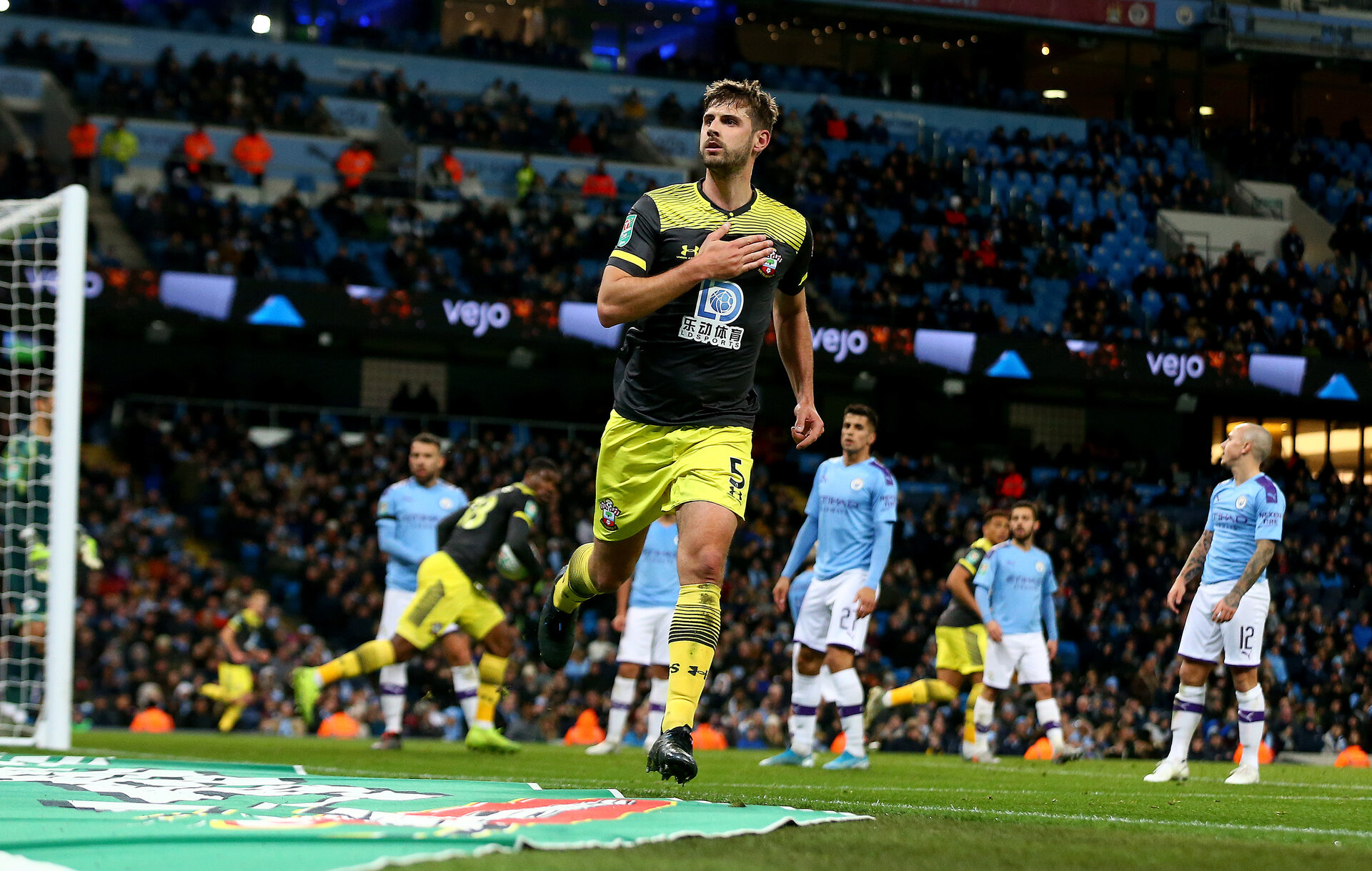 MANCHESTER, ENGLAND - OCTOBER 29: Jack Stephens of Southampton celebrates after pulling a goal back during the Carabao Cup Round of 16 match between Manchester City and Southampton FC at the Etihad Stadium on October 29, 2019 in Manchester, England. (Photo by Matt Watson/Southampton FC via Getty Images)