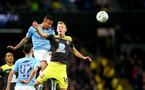 MANCHESTER, ENGLAND - OCTOBER 29: Gabriel Jesus(L) of Manchester City and James Ward-Prowse(R) of Southampton during the Carabao Cup Round of 16 match between Manchester City and Southampton FC at the Etihad Stadium on October 29, 2019 in Manchester, England. (Photo by Matt Watson/Southampton FC via Getty Images)