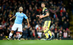 MANCHESTER, ENGLAND - OCTOBER 29:  Sergio Aguero(L) of Manchester City and Jack Stephens(R) of Southampton during the Carabao Cup Round of 16 match between Manchester City and Southampton FC at the Etihad Stadium on October 29, 2019 in Manchester, England. (Photo by Matt Watson/Southampton FC via Getty Images)