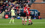 SOUTHAMPTON, ENGLAND - NOVEMBER 17: Sophia Pharoah(L) of Southampton celebrates withRachel Panting during the Womens Hampshire Cup round 2 match between Southampton FC Women and AFC Bournemouth Women, at the Snows stadium AFC Totton, on November 17, 2019 in Southampton, England. (Photo by Matt Watson/Southampton FC via Getty Images)