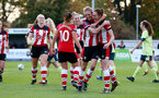 SOUTHAMPTON, ENGLAND - NOVEMBER 17: Shannon Albuery(L) and Rachel Panting celebrate during Womens Hampshire Cup round 2 match between Southampton FC Women and AFC Bournemouth Women, at the Snows stadium AFC Totton, on November 17, 2019 in Southampton, England. (Photo by Matt Watson/Southampton FC via Getty Images)