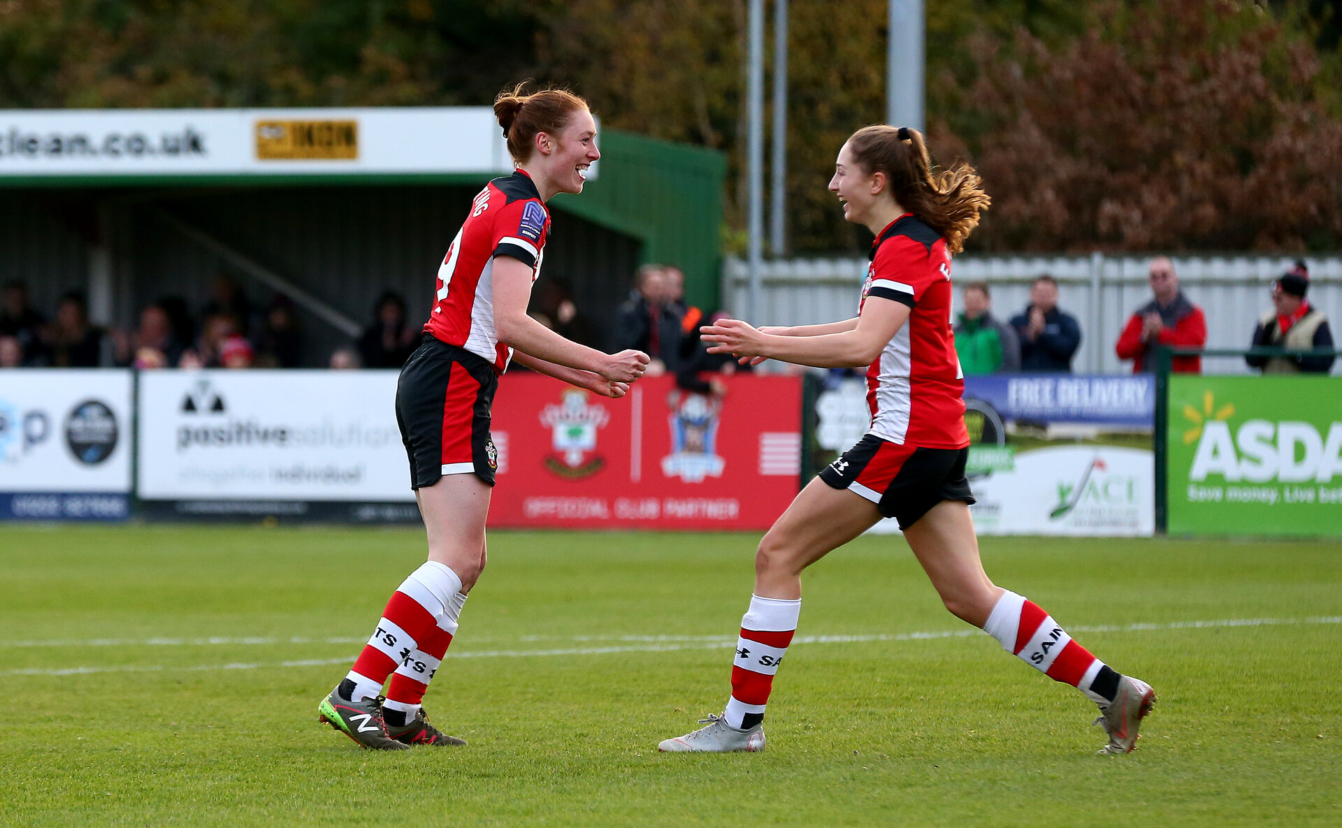 SOUTHAMPTON, ENGLAND - NOVEMBER 17: Rachel Panting(L) and Ella Morris celebrate during Womens Hampshire Cup round 2 match between Southampton FC Women and AFC Bournemouth Women, at the Snows stadium AFC Totton, on November 17, 2019 in Southampton, England. (Photo by Matt Watson/Southampton FC via Getty Images)