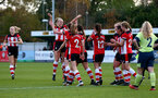 SOUTHAMPTON, ENGLAND - NOVEMBER 17: Southampton players celebrate during Womens Hampshire Cup round 2 match between Southampton FC Women and AFC Bournemouth Women, at the Snows stadium AFC Totton, on November 17, 2019 in Southampton, England. (Photo by Matt Watson/Southampton FC via Getty Images)