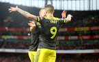LONDON, ENGLAND - NOVEMBER 23: Danny Ings(9) celebrates with James Ward-Prowse after scoring during the Premier League match between Arsenal FC and Southampton FC at Emirates Stadium on November 23, 2019 in London, United Kingdom. (Photo by Matt Watson/Southampton FC via Getty Images)