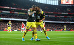 LONDON, ENGLAND - NOVEMBER 23: Danny Ings(L) and Ryan Bertrand of Southampton celebrate during the Premier League match between Arsenal FC and Southampton FC at Emirates Stadium on November 23, 2019 in London, United Kingdom. (Photo by Matt Watson/Southampton FC via Getty Images)
