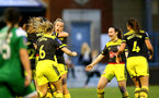 YEOVIL, ENGLAND - November 24: goal celebration during the SRWFL at The Avenue between Yeovil and Southampton Women on November 24 2019, Yeovil, England. (Photo by Isabelle Field/Southampton FC via Getty Images)
